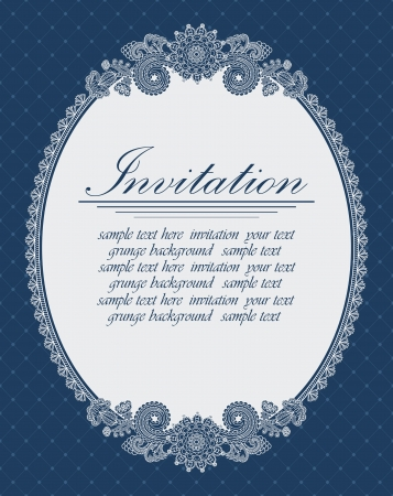 Elegant oval frame on a blue background. Can be used as an invitation