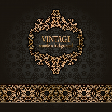Vintage seamless background with a gold frame and ribbon in retro style