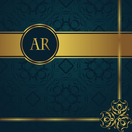 Illustration for Vintage background with gold decoration and border. Seamless background in a blue - Royalty Free Image