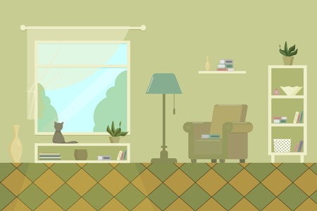 living room with armchair shelves window books lamp and cat flat vector illustration