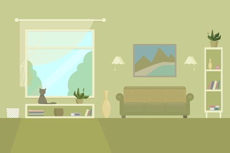 living room with sofa shelves picture window books and cat flat vector illustration