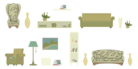 living room isolated objects with sofa armchair shelves picture books flat vector illustration