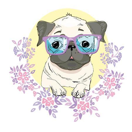 6e7d4dfec5ac Pug dog face - vector illustration isolated on white background ...