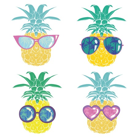 Illustration for pineapple with glasses tropical, vector, illustration, design, exotic, food, fruit, background, design, exotic, food, fruit, glasses, illustration nature pineapple summer tropical vector drawing fresh healthy isolated plant sweet white dessert hawaii leaf - Royalty Free Image