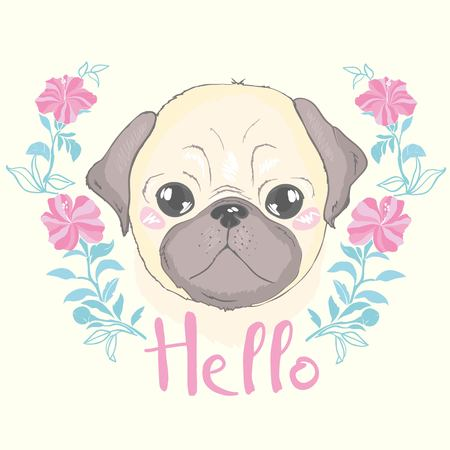 Illustration pour Vector seamless pattern with cute cartoon dog puppies. Can be used as a background, wallpaper, fabric and for other design.French Bulldog pattern - image libre de droit