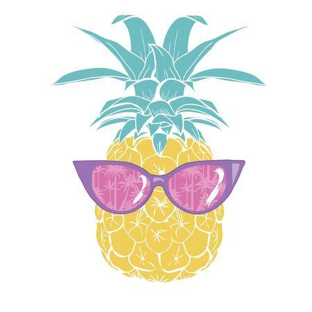 Illustration pour pineapple with glasses tropical, vector, illustration, design, exotic, food, fruit - image libre de droit