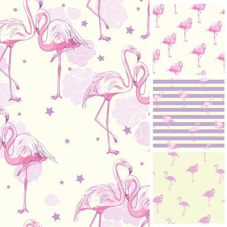 Illustration pour Cute set of Pink Flamingo tropical vibes seamless patterns. Vector illustration. - image libre de droit