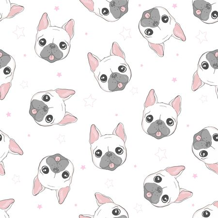 Illustration for Dog seamless pattern french bulldog paw background - Royalty Free Image