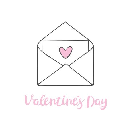 Valentine\'s day clip art. Envelope with hearts, stamps and hearts, love postcard with letters. Flying heart with wings. Vector illustration