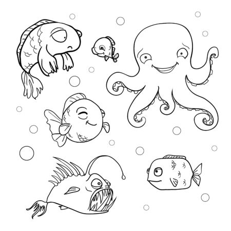 Illustration pour Ocean bottom. Coloring book page in doodle stile. Marine inhabitants, hand draw sketch. - image libre de droit