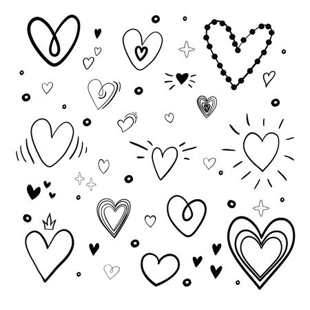 Illustration pour Set of heart sketches isolated on white background. Vector illustration. - image libre de droit