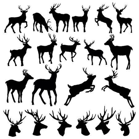 Illustration pour Set of a deer silhouette on white background - image libre de droit