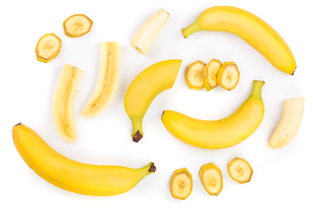 Photo pour whole and sliced bananas isolated on white background. Top view. Flat lay. - image libre de droit