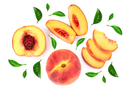 Foto de ripe peaches with leaves isolated on white background. Top view. Flat lay pattern. - Imagen libre de derechos