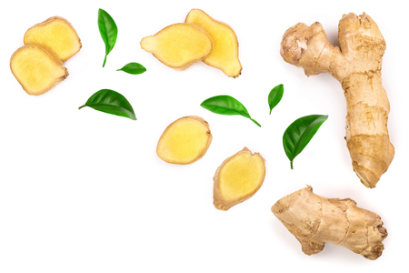 Foto de fresh Ginger root and slice isolated on white background with copy space for your text. Top view. Flat lay - Imagen libre de derechos
