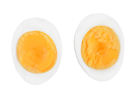 Foto de half boiled egg isolated on white background. Top view. - Imagen libre de derechos