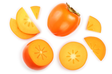 Photo pour persimmon fruit isolated on white background. Top view. Flat lay pattern - image libre de droit