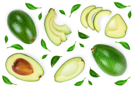 Photo for avocado and slices decorated with green leaves isolated on white background. Top view. Flat lay - Royalty Free Image