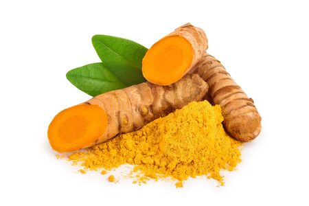 Photo pour turmeric root and powder isolated on white background close up - image libre de droit