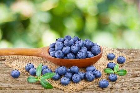 Photo for fresh ripe blueberry in wooden spoon on the old rustic table with blurred garden background - Royalty Free Image