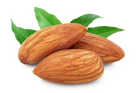 Photo for Almonds nuts with leaf isolated on white background - Royalty Free Image