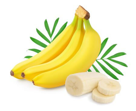 Photo for Bunch of bananas isolated on white background with clipping path and full depth of field. - Royalty Free Image