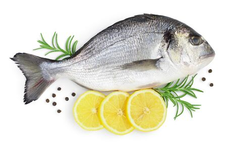 Photo pour Fish dorado isolated on white background. Top view. Flat lay - image libre de droit