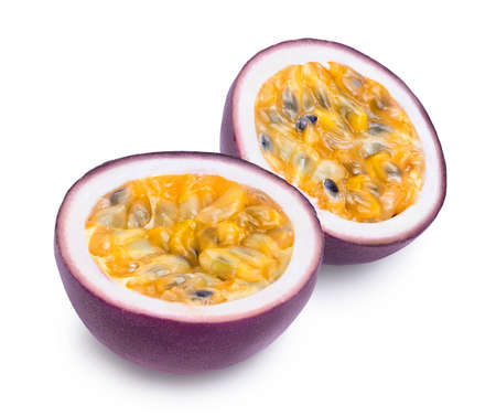 Photo pour passion fruits half isolated on white background. maracuya  and full depth of field - image libre de droit