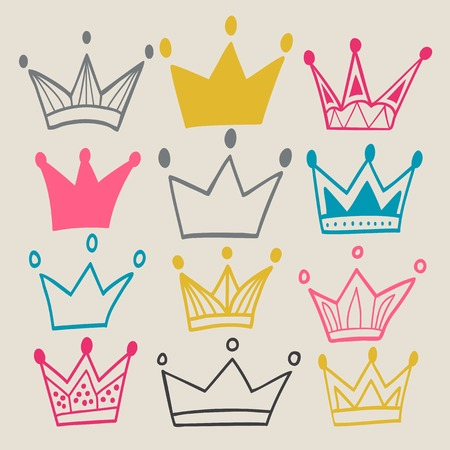 Illustration for Set of cute cartoon crowns. Pastel backdrop. Bright colors. Used for your design. - Royalty Free Image
