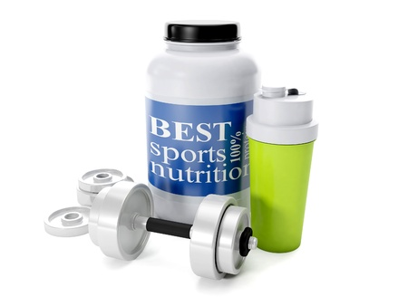 3d illustration: Dumbbells, shaker, sports nutrition, on a white background