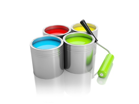 3d illustration: A group of cans of paint and roller