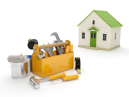 3d illustration: Repair and construction of the house. Tool box and a house in the background. The white background isolated