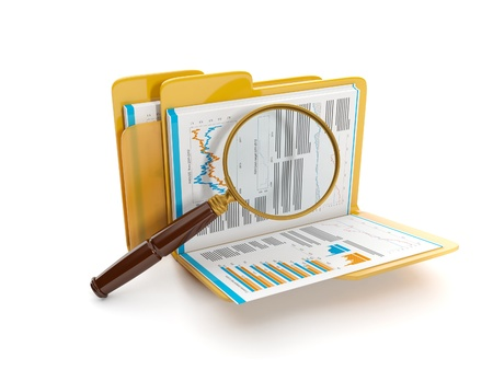 3d illustration: Finding a document file. Folder and a magnifying glass