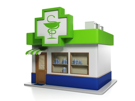 3d illustration: Medicine. Apothecary Building