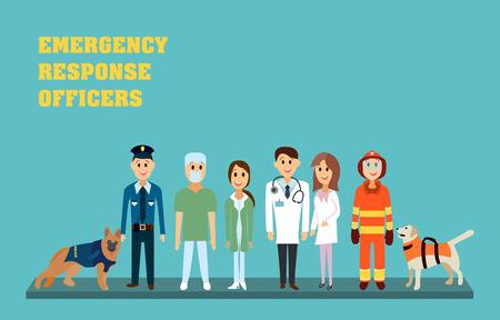 Ilustración de Emergency response officers - paramedic, nurse, doctor, firefighter and policeman. Rescuers in flat vector illustration. - Imagen libre de derechos
