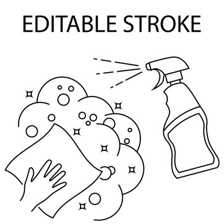 Illustration pour Napkin in the hand with alcohol spray. Cleaning and disinfection of premises. Disinfection of all surfaces. Sterile surface. Sanitizer. Spray. Editable Stroke. Vector illustration - image libre de droit
