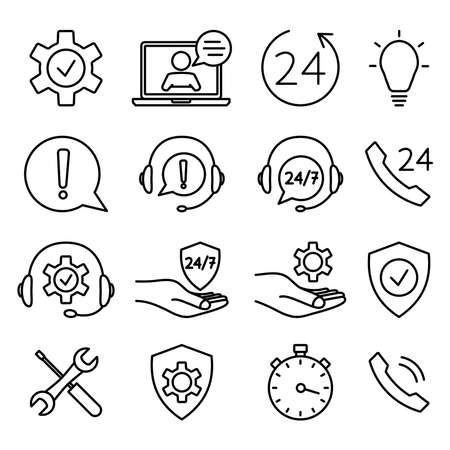 Illustration pour Help and support icon set. Online technical support. Concept illustration for assistance, call center, virtual help service. Support solution or advice. Vector outline - image libre de droit