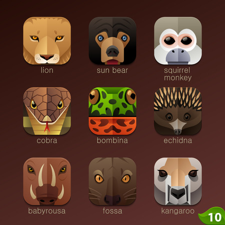 Animal faces for app icons-set 10のイラスト素材
