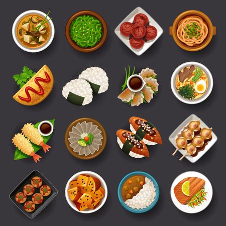 Ilustración de Japanese food icon set - Imagen libre de derechos