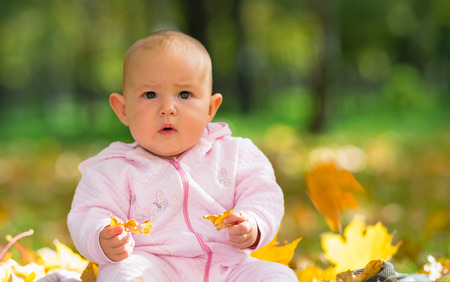 Surprised little baby girl staring at camera as she sits on the grass playing with yellow autumn leaves in a park