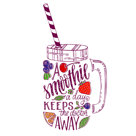 Illustration pour Hand drawn illustration of smoothie in mason jar silhouette on a white background. Typography poster with creative slogan - proverb. A smoothie a day keeps the doctor away. - image libre de droit