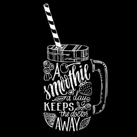 Illustration pour Hand drawn illustration of smoothie in mason jar silhouette on a white background. Typography poster with creative slogan - proverb A smoothie a day keeps the doctor away. - image libre de droit