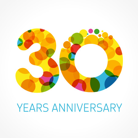 Illustration for 30 years anniversary circle colored - Royalty Free Image