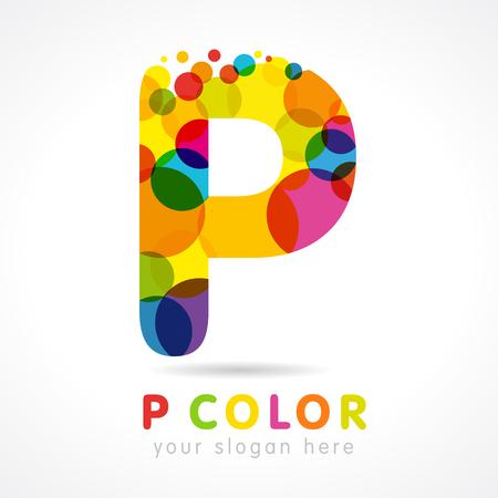 Illustration pour Colored P logo. Letter p business colorful logo vector template, colorful promotion icon in bubble color - image libre de droit