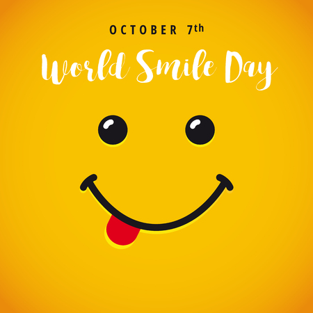 Illustration for World Smile Day banner. Smile with tongue and lettering World Smile Day on yellow background - Royalty Free Image