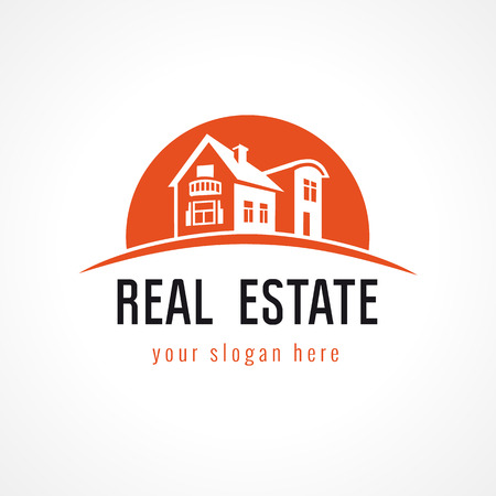 Illustration pour Real estate logo with building on sunset background. House for sale business sign. - image libre de droit