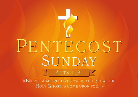 Illustration pour Pentecost Sunday Acts 1,8 vector greetings. Invite or greeting red card. Fiery flaming shining cross gold colored. Christian religious flier. Holy Spirit lighting celebrating symbol. Trinity holiday. - image libre de droit