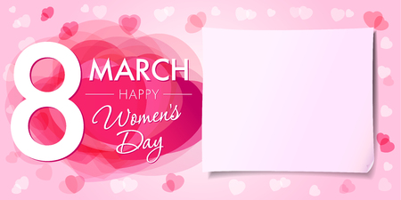 Illustration for Happy Womens day 8 march banner. 8 March Women's Day greeting card template with vector pink hearts and paper on background - Royalty Free Image