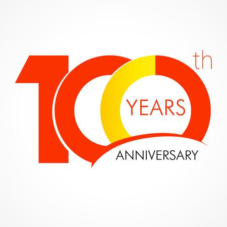 Illustration pour 100 years old celebrating classic logo. Anniversary year of 100 th vector template. Birthday greetings celebrates. Traditional digits of jubilee ages. Colored letter O. - image libre de droit