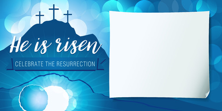 Illustration pour Hi is risen holy week poster. Easter christian motive, vector invitation to an Easter Sunday service with text He is risen on a background of rolled away from the tomb stone of Calvary - image libre de droit